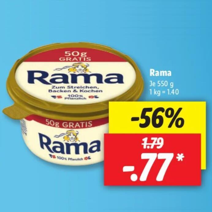 550g Rama rein pflanzliche Dreiviertelmargarine (1,40€/kg)
