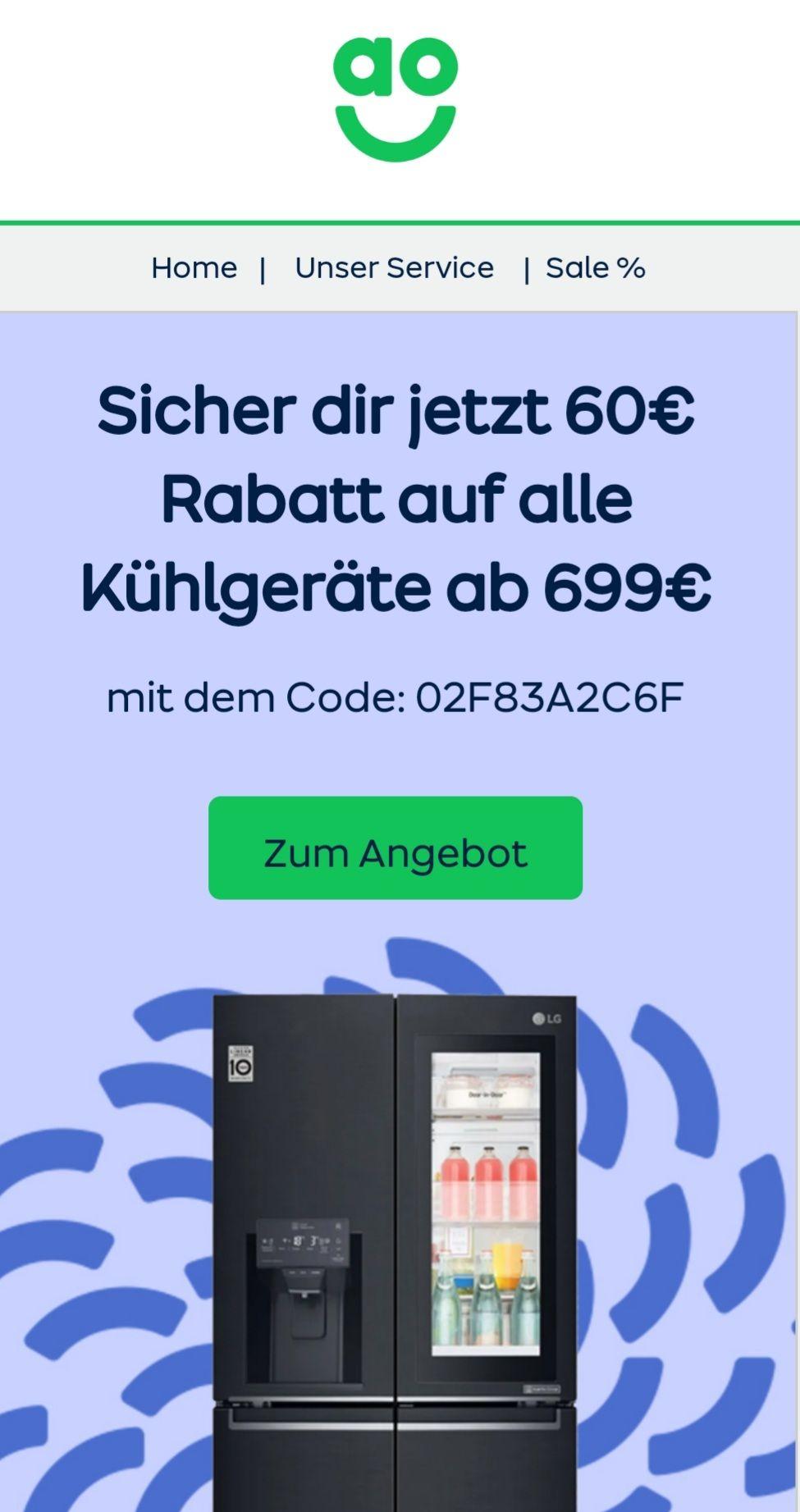 ao 60 Euro Rabatt auf alle Kühlgeräte ab 699 Euro