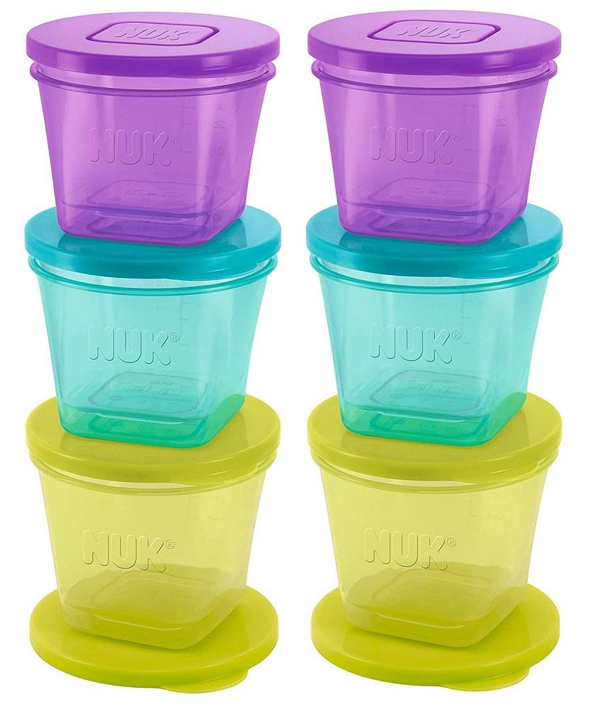 NUK Fresh Foods Frischebehälter zur Aufbewahrung von Babynahrung 6 Stück in 3 Größen 2x 65ml, 2x 75ml und 2x 85ml für 2,95€ mit Prime