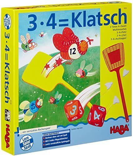HABA 4538 - 3X4=Klatsch, lustiges Lernspiel für 2-6 Spieler ab 8 Jahren, Konzentrationsspiel [Amazon Marketplace]