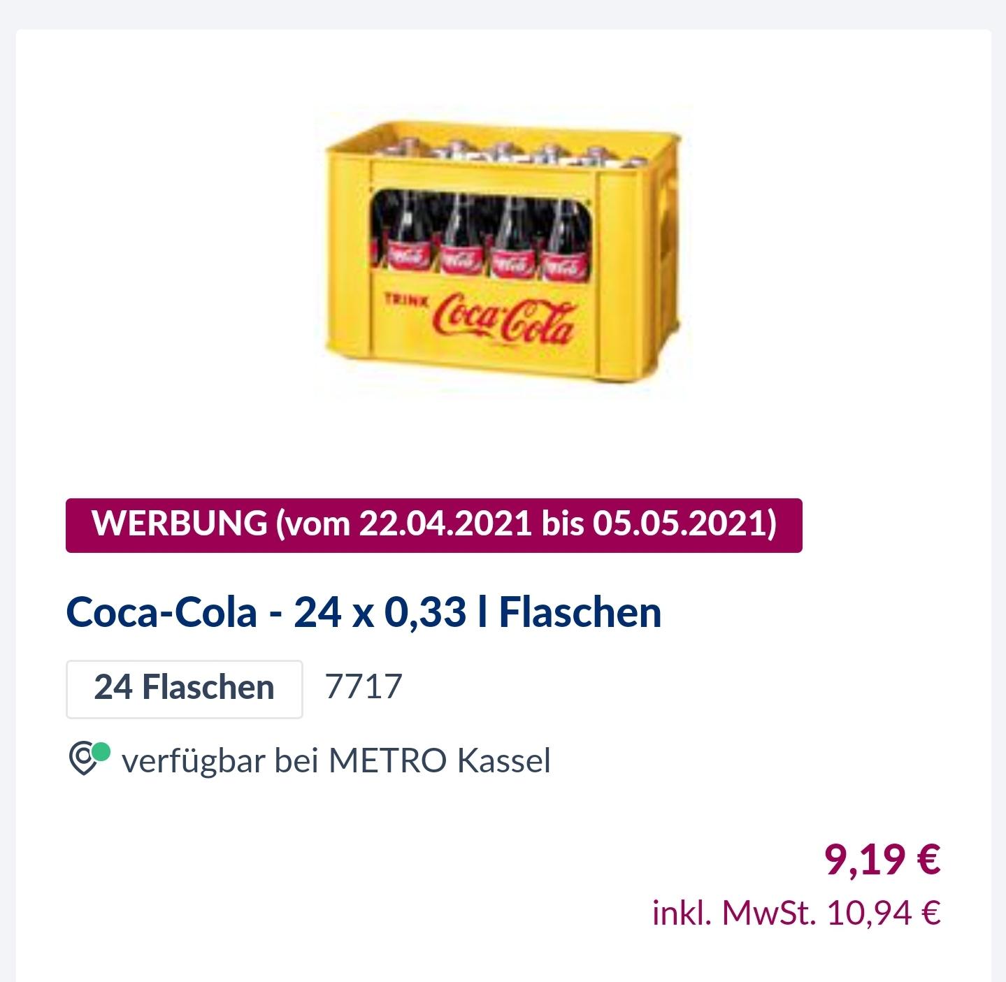 Coca-Cola - 24 x 0,33 l Flaschen - Metro