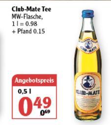 [Globus Rostock] Club Mate - 0,5l Flasche - 0,49 Euro (Preis ohne Pfand)