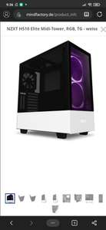 Mindstar NZXT H510 Elite Midi-Tower, RGB, TG - weiss white Gehäuse