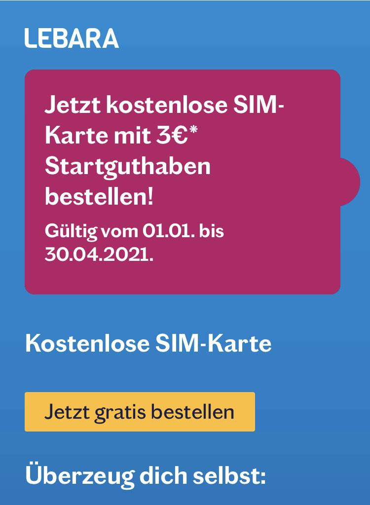 Kostenlose Sim-Karte mit 3€ Startguthaben