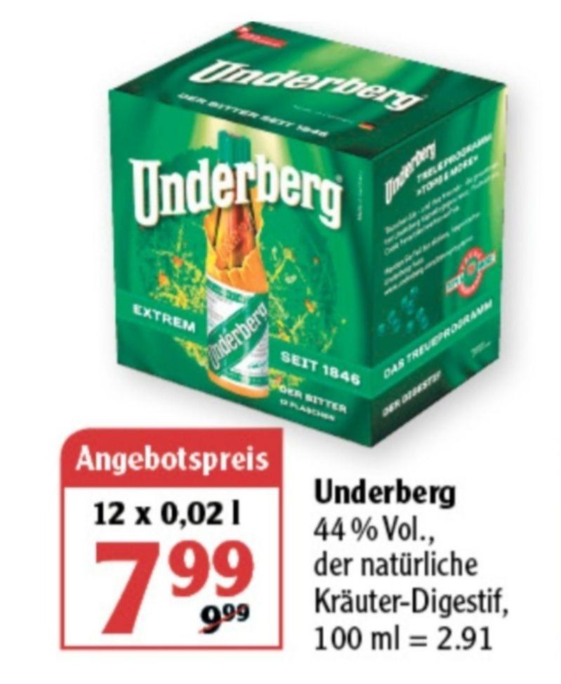 Underberg 12x 0,002 l 44% für 7,99€ statt 9,99€, Erdinger Weissbier und Paulaner Hefe-Weissbier 20x0,5 l ab 26.04 Globus