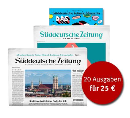 20 Ausgaben (10 Wochen) SZ am Wochenende Print für 25€