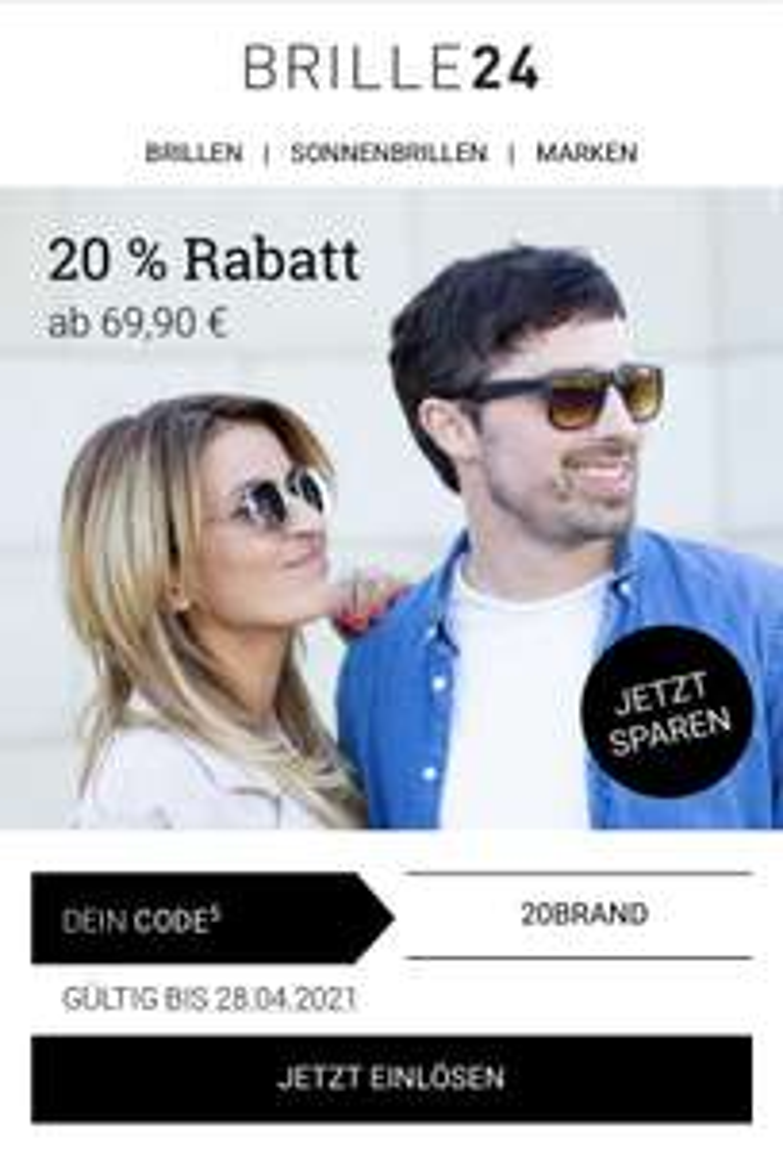 20% auf Markenbrillen bei Brille24