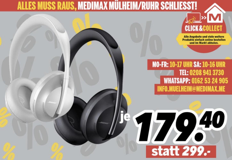 Lokal Medimax Mülheim: BOSE 700 Headphones Noise Cancelling Kopfhörer für 179,40€ und weitere Angebote