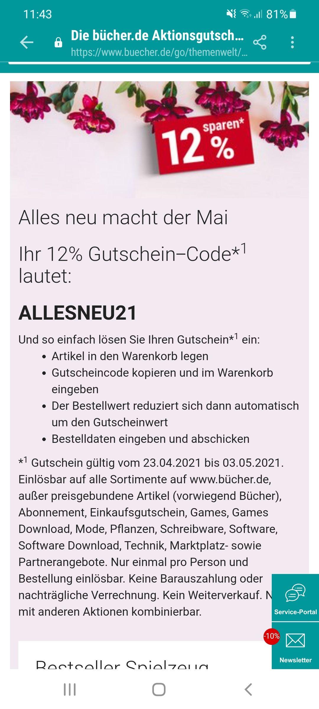 12 % Rabatt bei Bücher.de