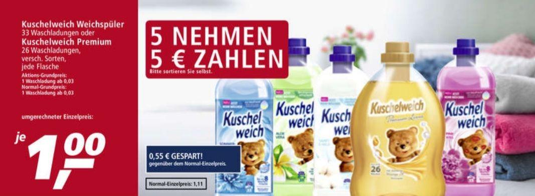 5 Stück nehmen 5 Euro zahlen, 1 Euro das Stück, Kuschelweich Weichspüler/Premium ab 26.04 Real