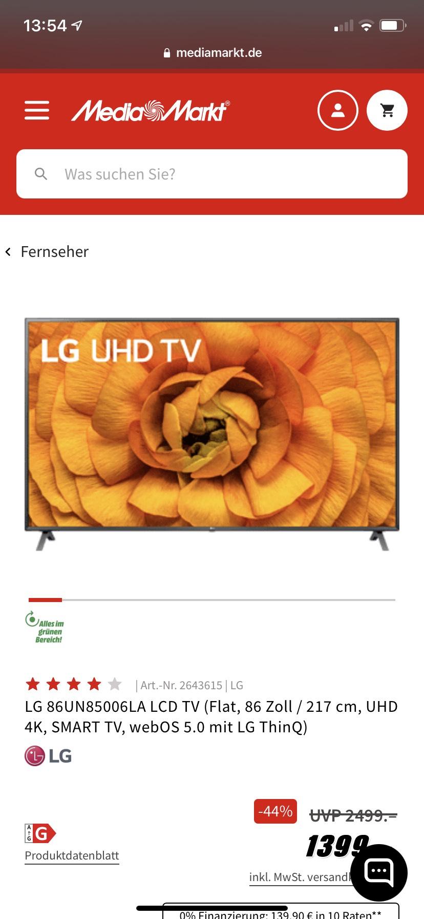 LG 86UN85006LA LCD TV bei MediaMarkt und Amazon