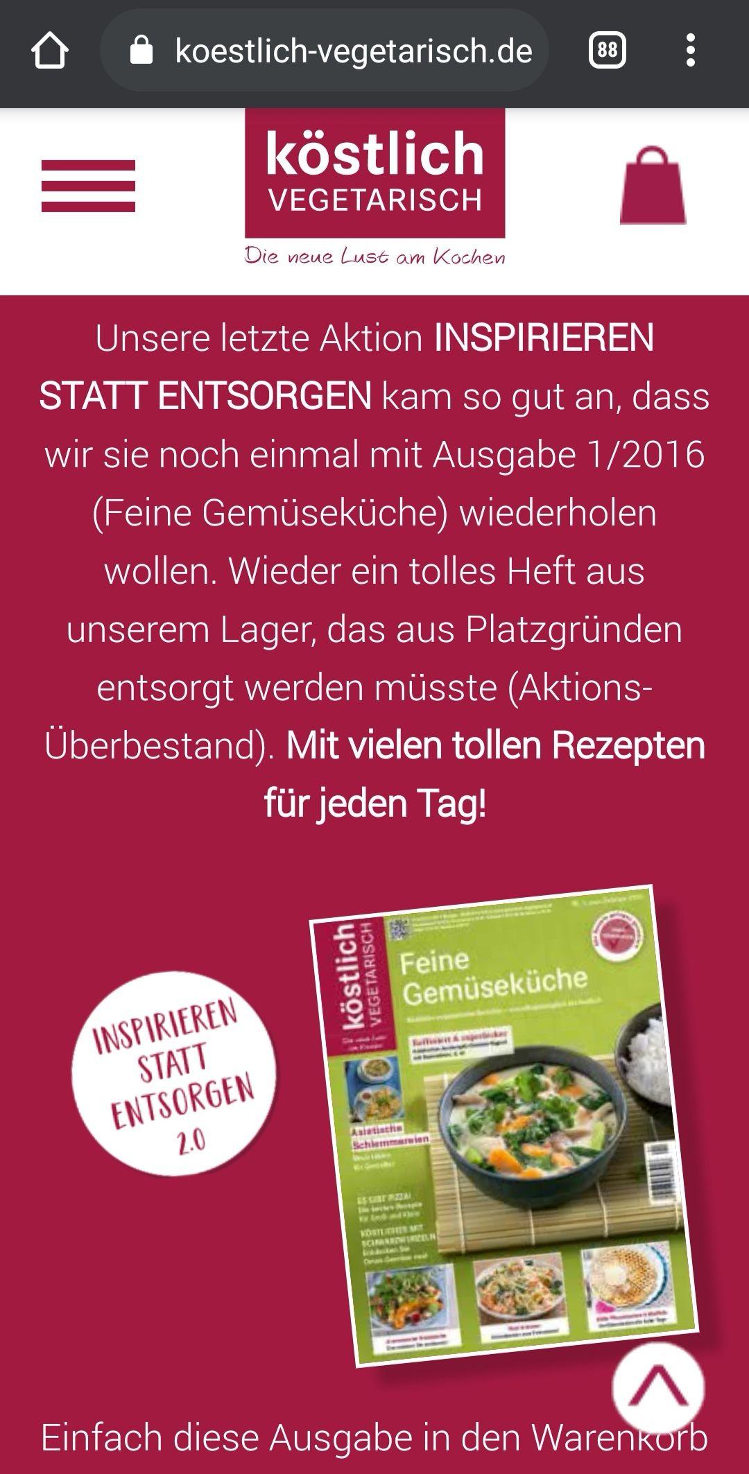 """Kostenlose Ausgabe """"Köstlich vegetarisch 1/16"""""""