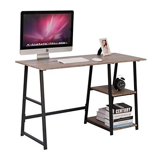 WOLTU® Schreibtisch TSG2GR Schreibtisch mit 2 Ablagen, Holz Stahl grau