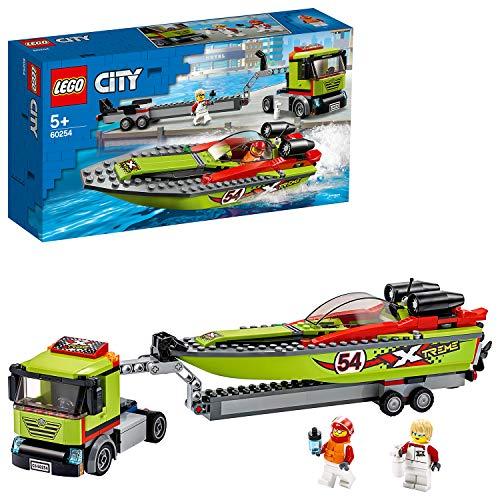 [amazon   prime] LEGO 60254 City Rennboot-Transporter LKW-Spielzeug mit Anhänger und Schnellboot