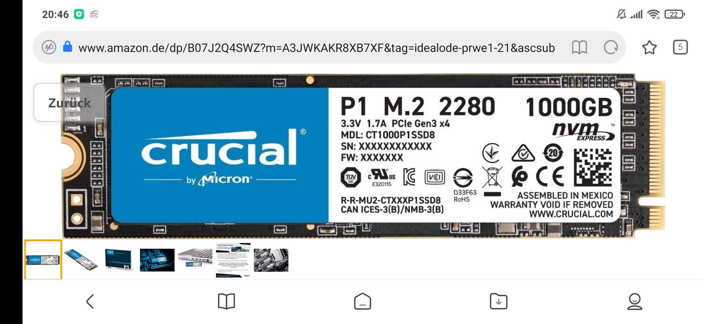 Crucial P1 1TB SSD M.2 Festplatte Speicher