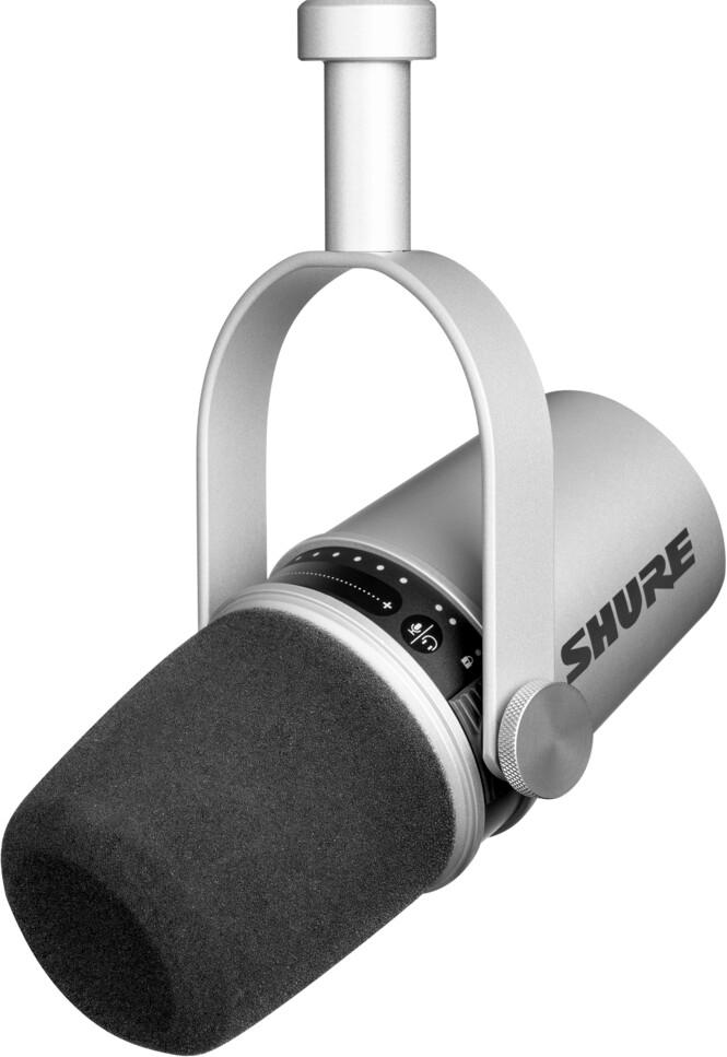 """Shure MV7 Podcast-Mikrofon (USB oder XLR, Niere, Kopfhörer-Anschluss, Touch-Panel, Software, MFi-zertifiziert, 5/8""""-Gewinde, 550g)"""