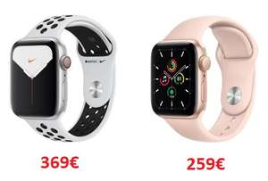 Apple Watch Nike Series 5 (LTE) 44mm Aluminium silber mit Sportarmband | Apple Watch SE GPS 40mm gold mit Sportarmband sandrosa - 259€