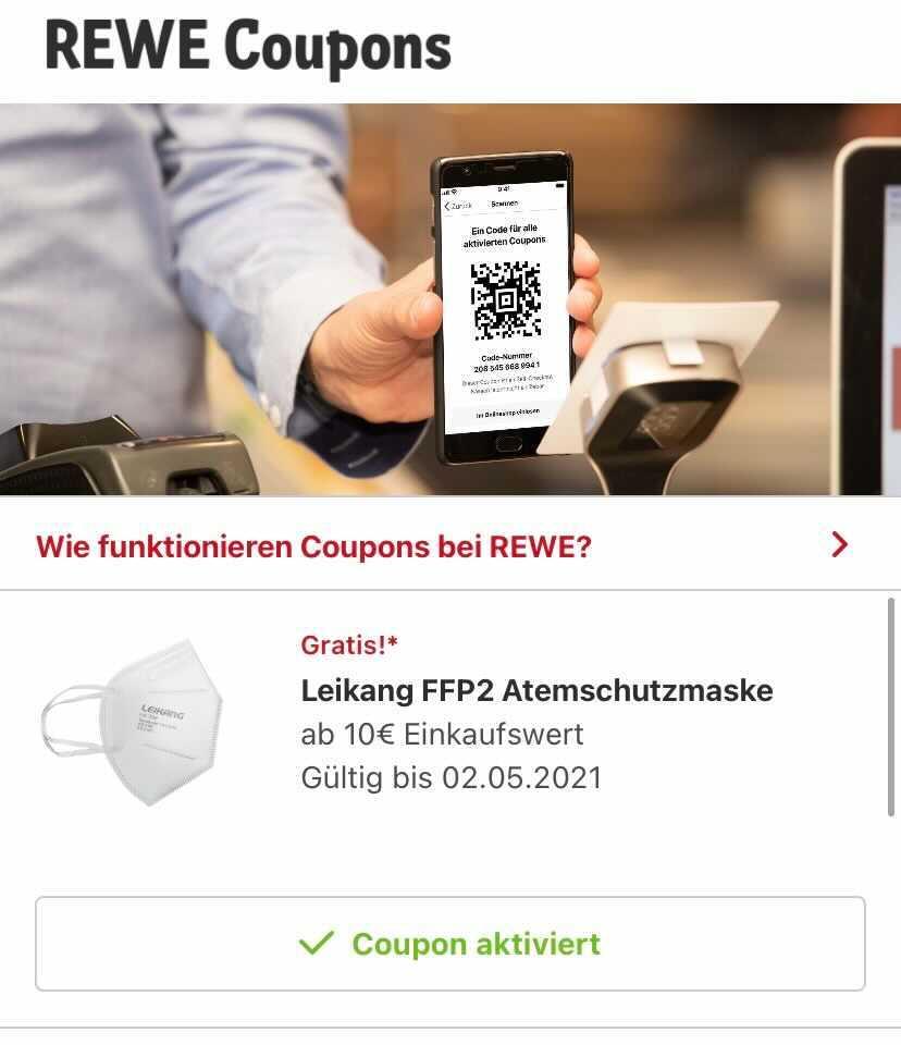 Rewe App - ab 10€ Einkaufswert gratis FFP2 Maske