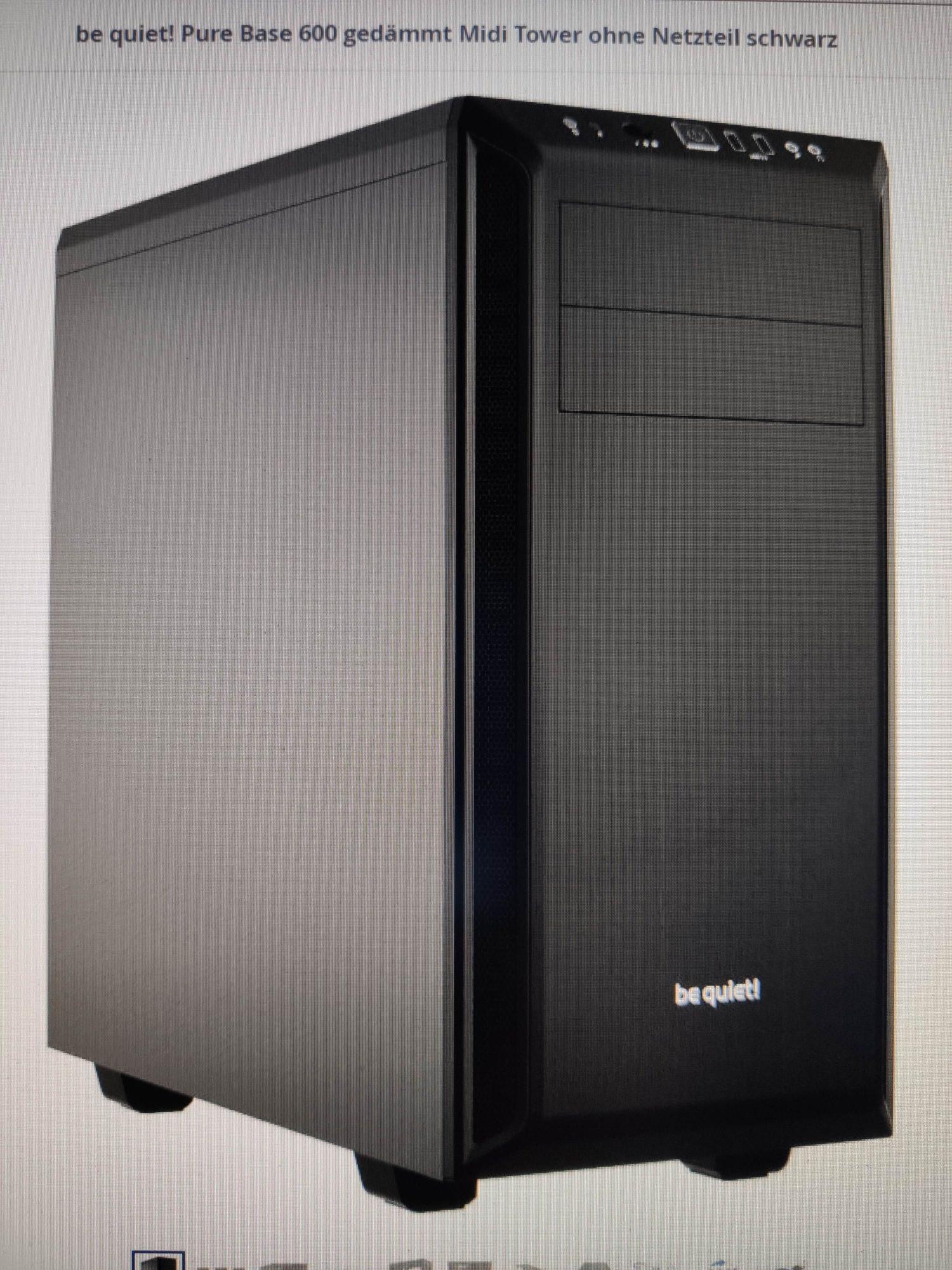 Mindstar be quiet! Pure Base 600 gedämmt Midi Tower ohne Netzteil schwarz Gehäuse