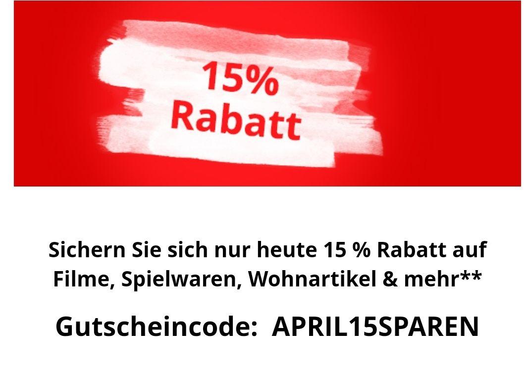 Nur heute 15% Rabatt bei bol.de