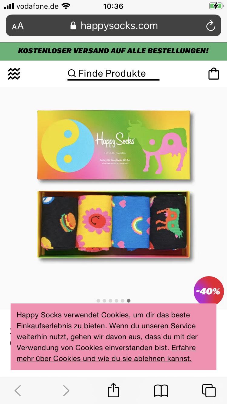Happy Socks Smile Yin Yang Socks Gift Box 4-Pack (40-46) für 20,95 Euro