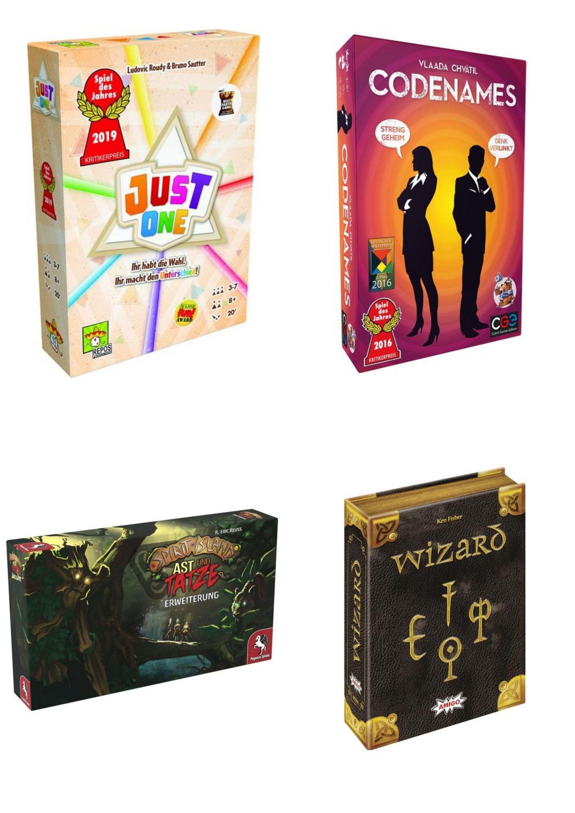 Brettspiel Sammeldeal bei Bol.de, z.B Just One (14,42€), Codenames (13,72€), Wizard Jub.ed. (16,29€), Spirit Island Erw. (17,14€)