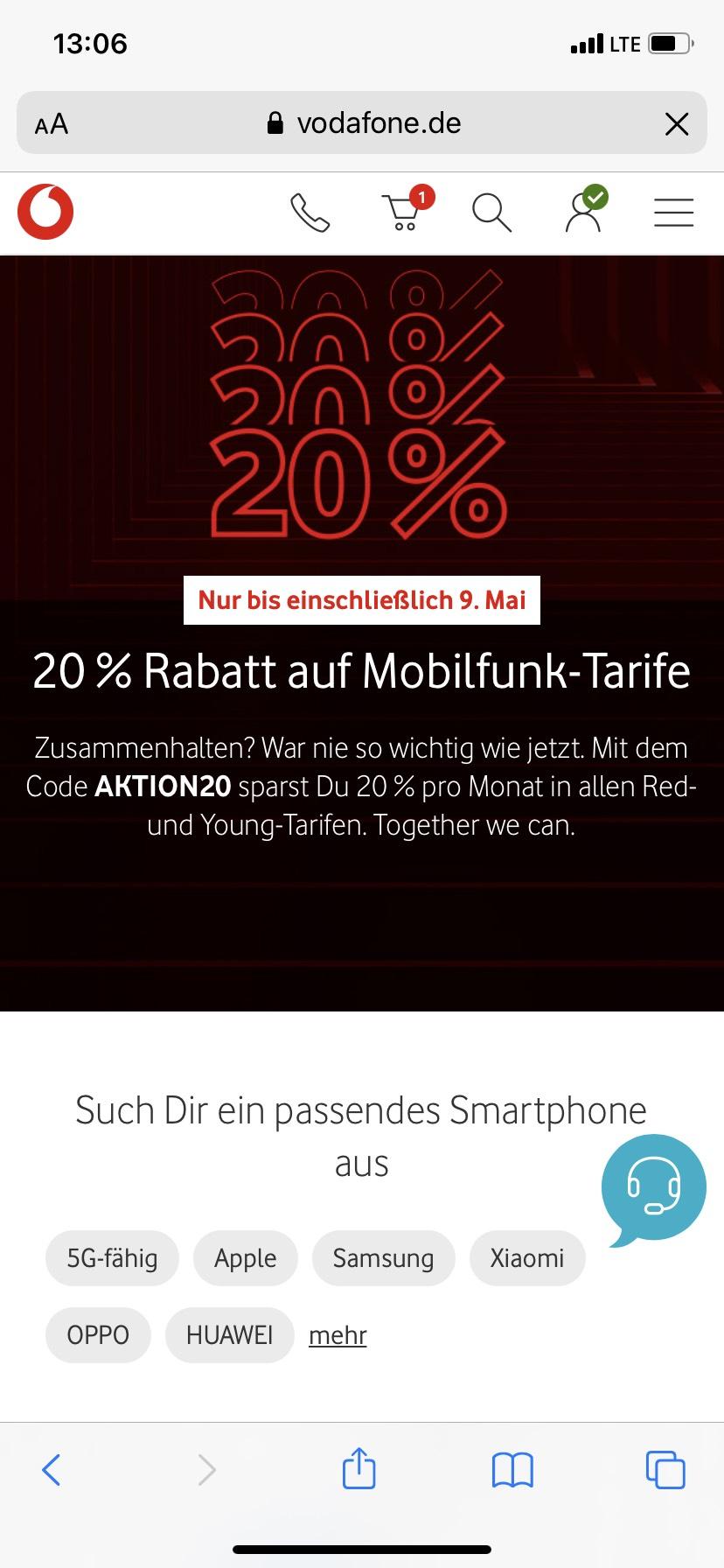 20% Rabatt auf Vodafone Mobilfunk-Tarife