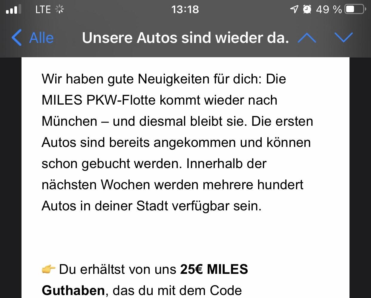 [evtl. Lokal MUC/personalisiert] 25€ Guthaben bei MILES Carsharing + 15€ über KwK