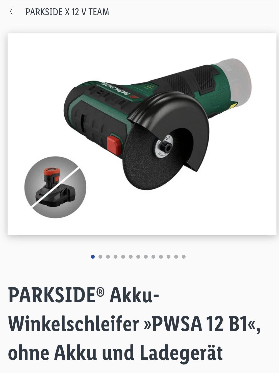 PARKSIDE® Akku-Winkelschleifer »PWSA 12 B1«, ohne Akku und Ladegerät