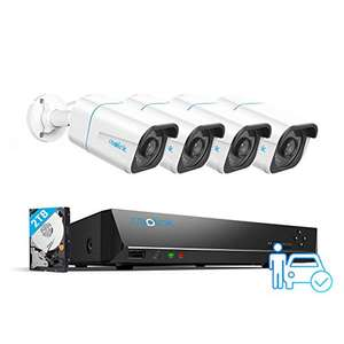 Reolink 4K 8CH Überwachungskamera Set, Smarte Person- und Fahrzeugerkennung 4X 8MP RLC-810A PoE IP Kamera und 2TB HDD NVR