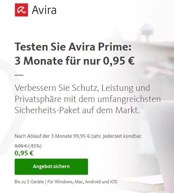 Avira Prime: 3 Monate für 0,90€ mehrfach möglich, auch für Bestandskunden!