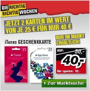ProMarkt: 20% Rabatt auf iTunes - Guthabenkarten - nur im Markt
