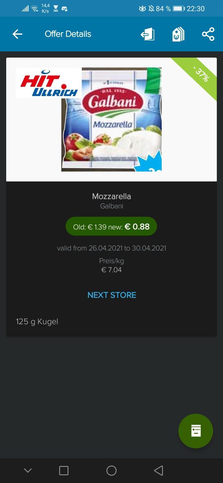 Galbani Mozzarella 125gr. Für 0.38€ bei Hit Ullrich mit Coupon