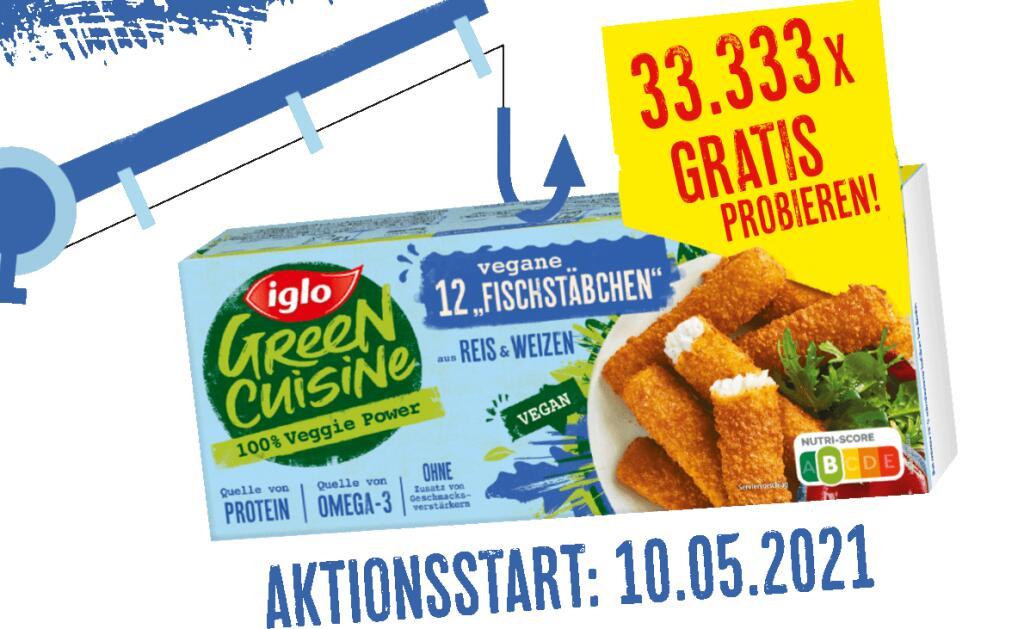 [GzG] Iglo Green Cuisine 12 Vegane Fischstäbchen 33.333x gratis testen   ab dem 10.05.