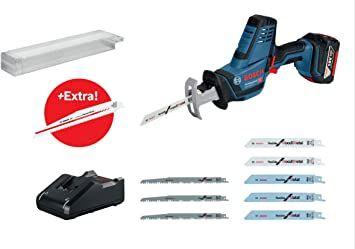 Bosch Professional 18V Akku-Säbelsäge GSA 18V-LI C + 5.0 Ah Akku + Ladegerät GAL 18V-40 + 10x Blätter + L-Boxx