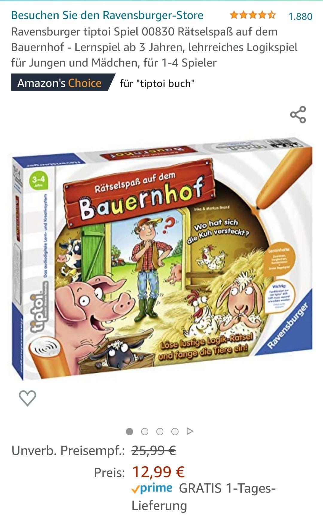 Ravensburger Tiptoi Spiel 00830 Rätselspaß auf dem Bauernhof - Lernspiel ab 3 Jahren [Amazon Prime]