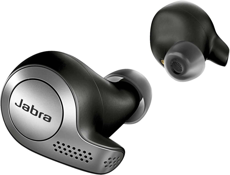 [Refurbished] Jabra Elite 65t TWS In-Ears silber/schwarz (Bluetooth 5.0, AAC, Multipoint, Ohrerkennung, 5/15h Akku, Micro-USB, App, IP55)