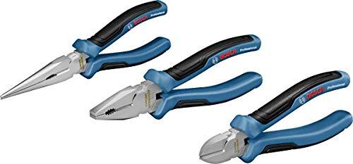 Bosch Professional 3 tlg. Zangen Set (Kombinationszange, Spitzzange und Seitenschneider, mit L-BOXX-Einlage)