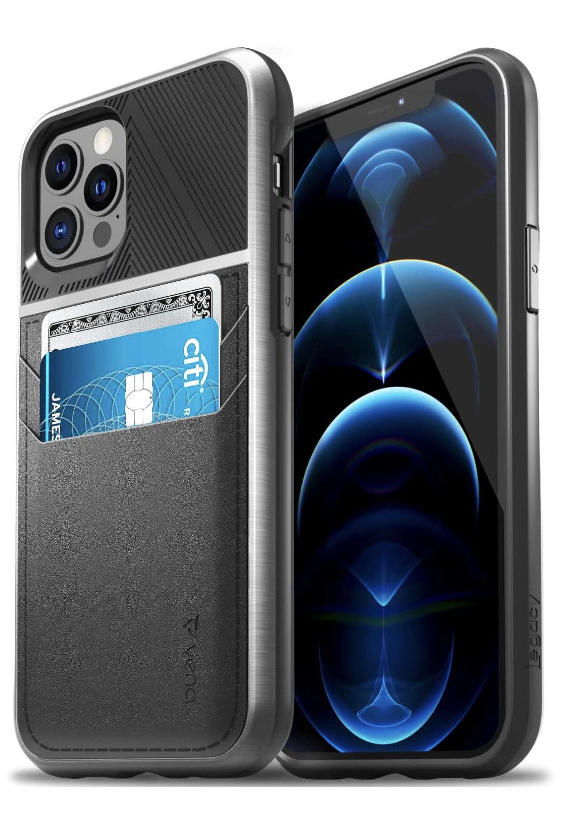 [Amazon Prime ] Vena Legacy Brieftasche Hülle für Apple iPhone 12/12 Pro Leder Etui Schutzhülle - Schwarz