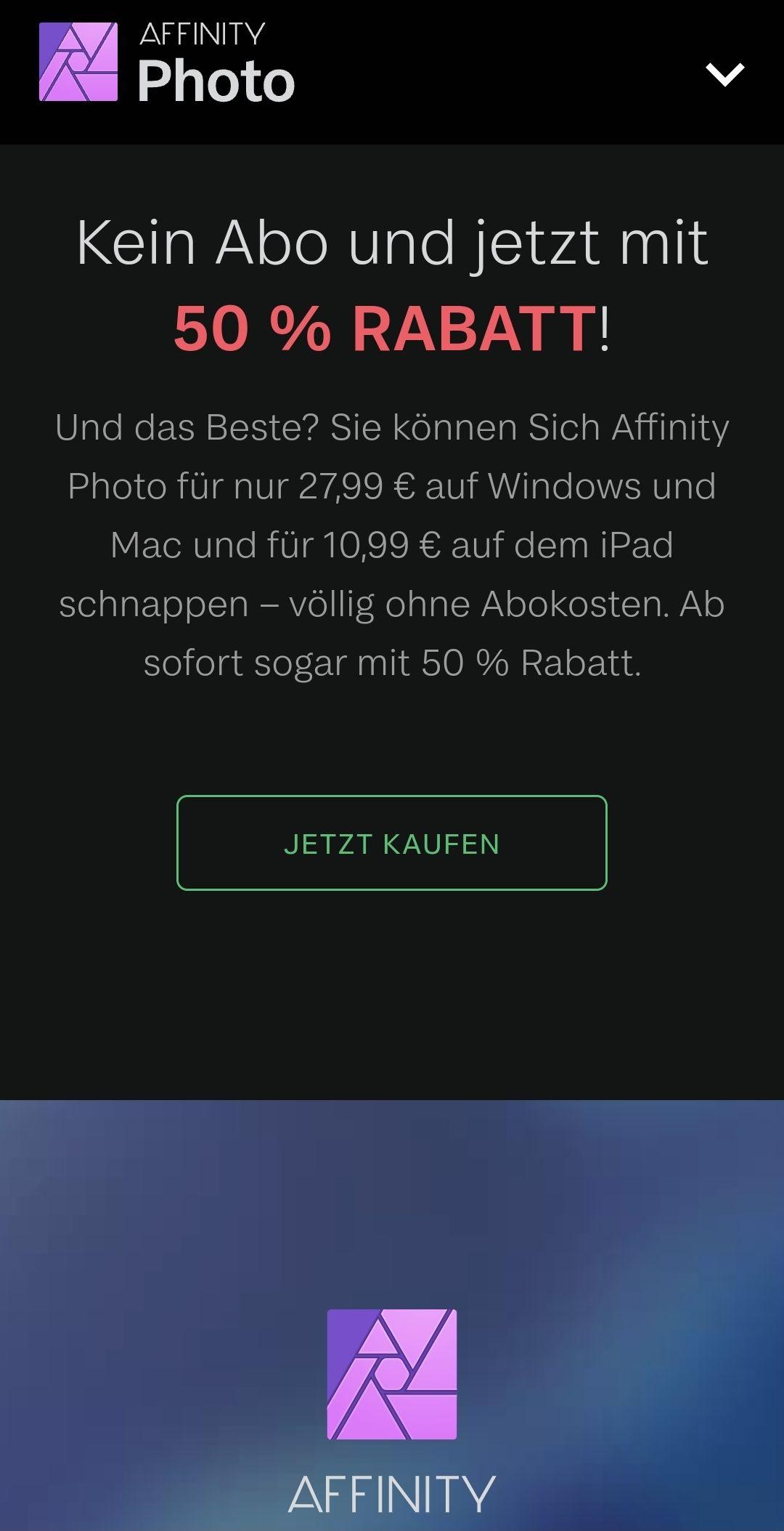 50% Rabatt auf Affinity Produkte Photo/Publisher/Designer