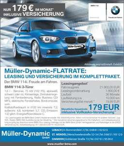 [Leasing] 1er BMW 179€ inkl. Versicherung, Einmalige Kosten [2455€] -> Saarland