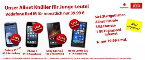 D2-Netz Allnet-Flatrate für JungeLeute mit 1000MB Inet-Flat & Galaxy S3 16GB für effektiv 9,20€ mtl.