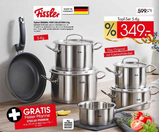 [eventuell Lokal] Fissler Original Profi Collection 5-teilig + Steelux Premium Pfanne