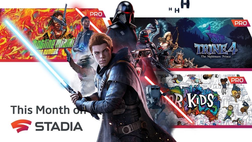 [Stadia Pro] Free Games im Mai: STAR WARS Jedi: Fallen Order™, Trine 4, Hotline Miami 2, Floor Kids