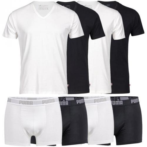 PUMA 4er Pack T-Shirts (V- , R-Neck) oder Boxershorts S M L XL UVP für 23,90