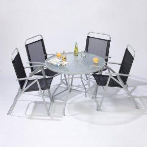 """Gartenmöbel Set """"Nizza"""" Tisch Rund & 4 Stühle klappbar aus Stahl"""