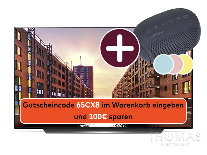 LG OLED65CX8LB 4K OLED TV - inkl. portable Bluetooth Lautsprecher