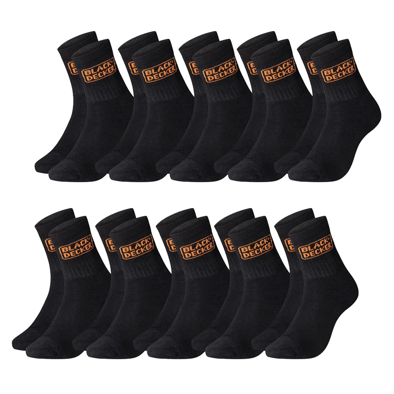 20 Sportsocken von Black + Decker (Gr. 39-49, Material 60% Baumwolle, 37% Polyester, 3% Polyamid)