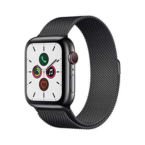 AMAZON : Apple Watch Series 5 (GPS + Cellular, 44 mm) Edelstahlgehäuse Space Schwarz - Milanaise Armband Space Schwarz