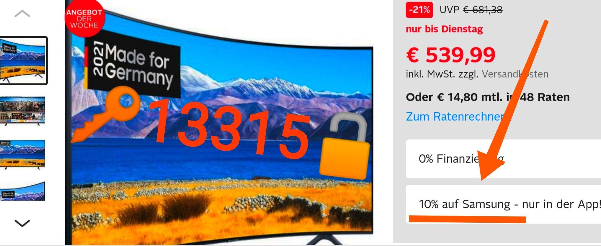 OTTO Samsung GU55TU8379U Curved-LED-Fernseher (138 cm/55 Zoll, 4K Ultra HD, Smart-TV, HD+ integriert (6 Monate gratis)